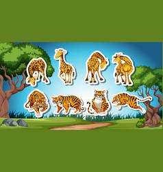 set of giraffe and tiger sticker vector image