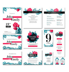 set of wedding design concept vector image
