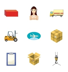 Shipping icons set cartoon style vector