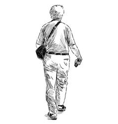 sketch an elderly man going down stree vector image