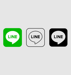 social media icon set for line in different style vector image