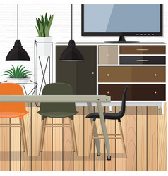 Sofa in the dinner room vector