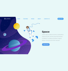 space exploration flat landing page template vector image