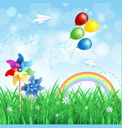 Spring background with pinwheels vector