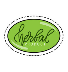 Sticker with path herbal or vegan product vector