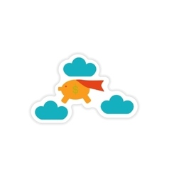 stylish sticker on paper piggy bank in the clouds vector image