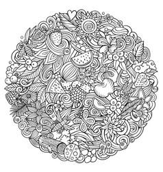 summer nature cartoon doodles vector image