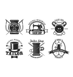 tailor sewing machine button and needle icons vector image