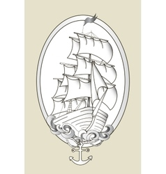 Tattoo ship black and white stencil vector