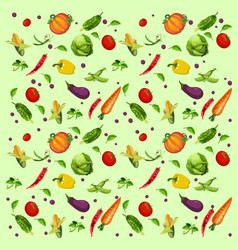 texture of ripe vegetables and herbs isolated on vector image