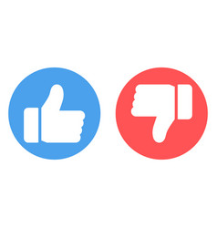 thumbs up and thumbs down icons blue like button vector image