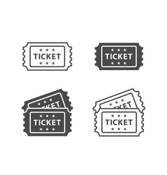 Ticket icon on black and white backgrounds vector