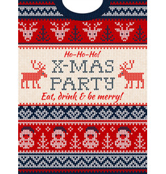 Ugly sweater christmas party invite knitted vector
