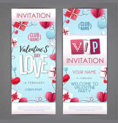 valentines day invitation design with love heart vector image