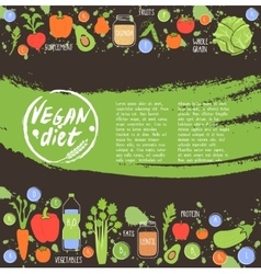 Vegan diet healthy food background vector