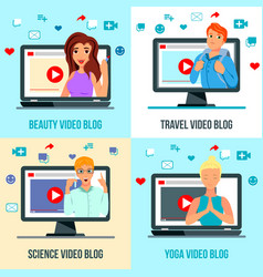 video bloggers characters flat concept vector image