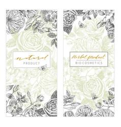 vintage floral cards set frame with engraving vector image