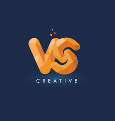 Vs letter with origami triangles logo creative vector