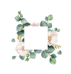 Watercolor frame with eucalyptus branches vector
