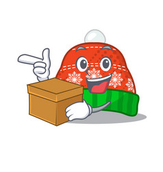 With box winter hat in mascot shape vector