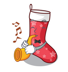 With trumpet cartoon christmas sock homemade fur vector