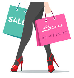 woman legs and shopping bags vector image