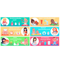 world breastfeeding month promotional posters set vector image
