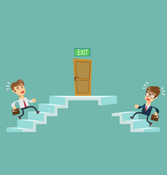 young people climbs the stairs vector image