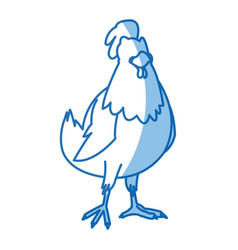 Cartoon hen bird farm animal domestic image vector