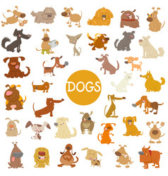 funny dog characters big set vector image