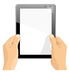 hands holding a tablet touch computer gadget vector image