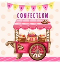 Truck with sweets holiday decoration vector image