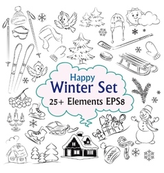 Beautiful Winter Sketch Collection vector image vector image