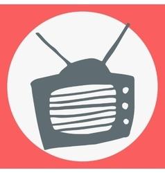 Cartoon flat simple tv icon vector image vector image