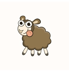 Cartoon sheep character for Christmas and New Year vector image