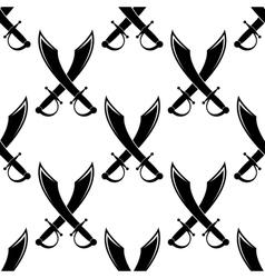 Crossed swords or cutlass seamless pattern vector image