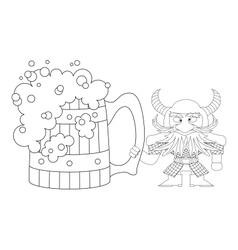 Dwarf with great beer mug contour vector image vector image