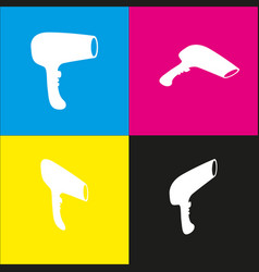 hair dryer sign white icon with isometric vector image