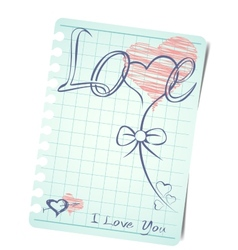 Template of a love card background with blank note vector image vector image