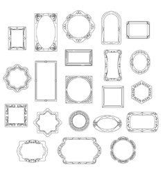 Doodle line frames set vector image vector image