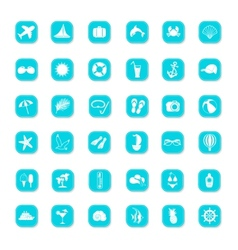 Summer blue icons vector image vector image
