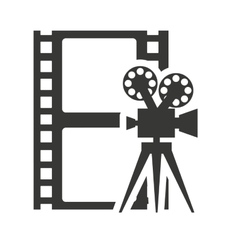 tape record with cinema icon vector image