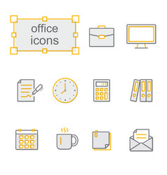 thin line icons yellow set office vector image vector image