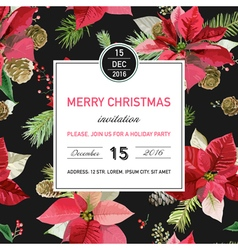 Vintage Poinsettia Christmas Invitation Card vector image vector image