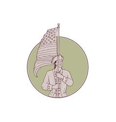 american patriot standing usa flag circle drawing vector image vector image
