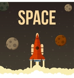 Rocket that fly in universe vector image