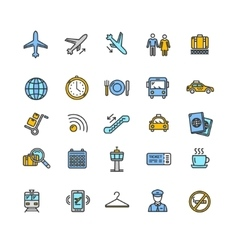 Airport Outline Colorful Icon Set vector image