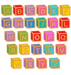 Alphabet english colorful blocks vector