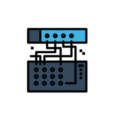 Analog connection device module sound flat color vector
