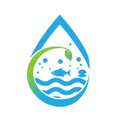 Aquarium plants logo design template vector